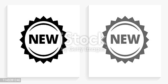 New Black and White Square Icon. This 100% royalty free vector illustration is featuring the square button with a drop shadow and the main icon is depicted in black and in grey for a roll-over effect.