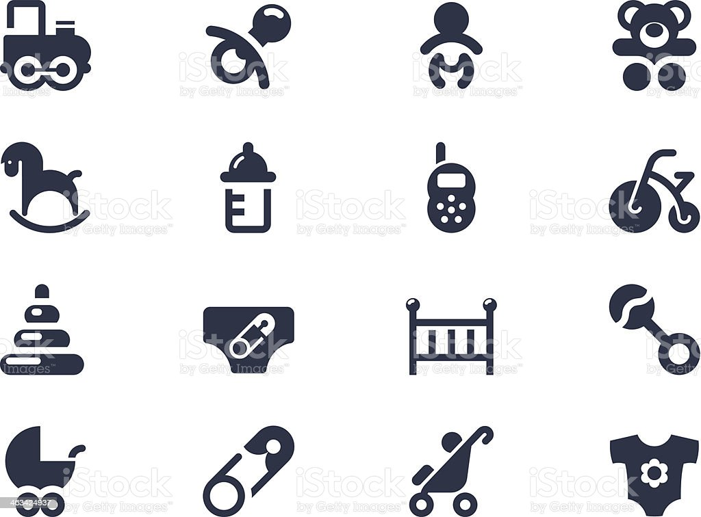 New born and baby icons vector art illustration
