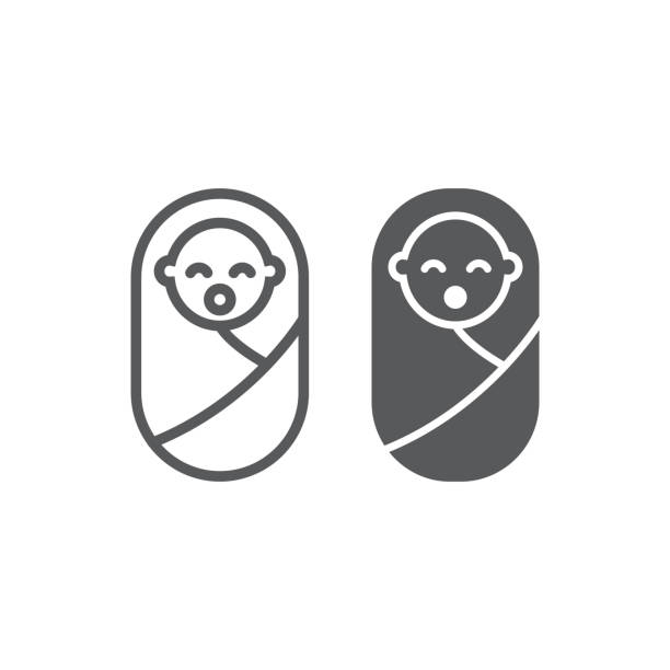 New born baby line and glyph icon, child and newborn, toddler sign, vector graphics, a linear pattern New born baby line and glyph icon, child and newborn, toddler sign, vector graphics, a linear pattern on a white background, eps 10. baby blanket stock illustrations