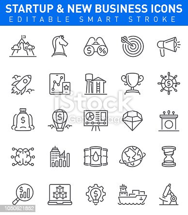 Startup and New Business Icons with brain, innovation, rocket  and idea symbols