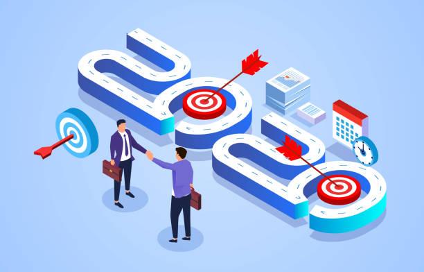 2020, new business new start new goals 2020, new business new start new goals z_wei stock illustrations