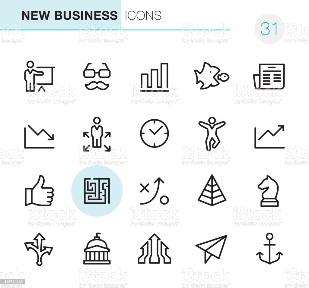 New Business - Pixel Perfect icons vector art illustration