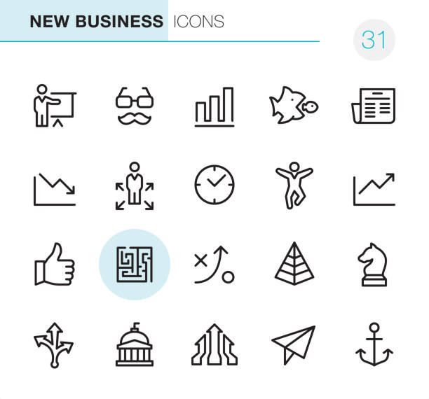 New Business - Pixel Perfect icons 20 Outline Style - Black line - Pixel Perfect icons / Set #31 New Business / Icons are designed in 48x48pх square, outline stroke 2px. chess knight silhouette stock illustrations