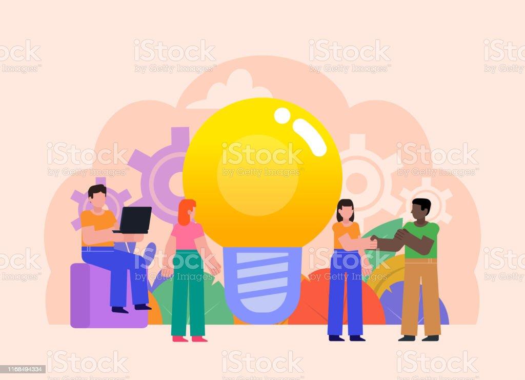 People stand near big idea light bulb. Poster for social media, web...