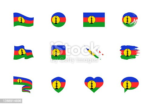 istock New Caledonia flag - flat collection. Flags of different shaped twelve flat icons. 1288914696