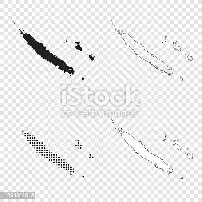 istock New Caledonia maps for design - Black, outline, mosaic and white 1294641015