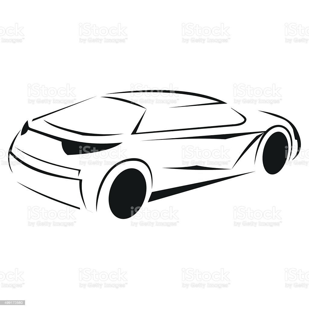 New car silhouette icon vector art illustration