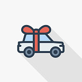 New car with red bow ribbon as a present thin line flat color icon. Linear vector illustration. Pictogram isolated on white background. Colorful long shadow design.