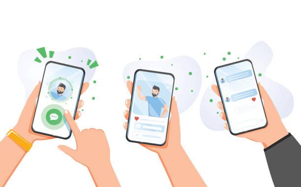neue chat-nachrichten-benachrichtigung auf dem handy. sms-blasen auf dem handy-bildschirm. die leute plaudern. vektor-flachdesign - smartphone mit corona app stock-grafiken, -clipart, -cartoons und -symbole