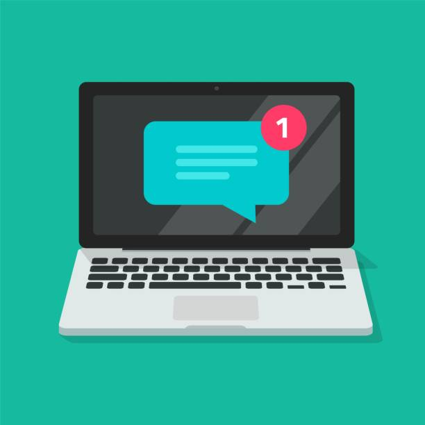 New chat text message notice icon on laptop computer online vector or received on pc incoming notification chatting speech bubble symbol isolated clipart vector art illustration