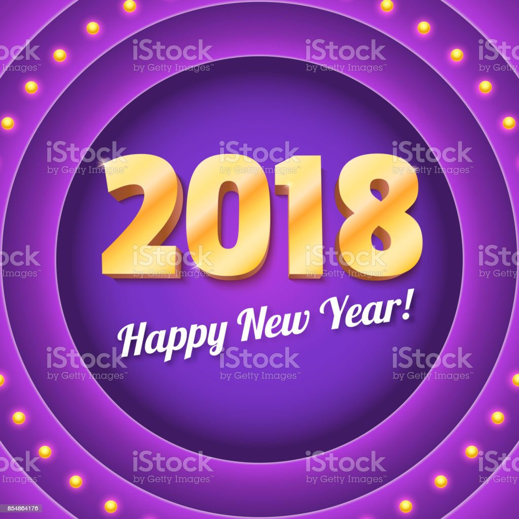 new coming 2018 banner on retro violet circular background with light bulbs volumetric yellow