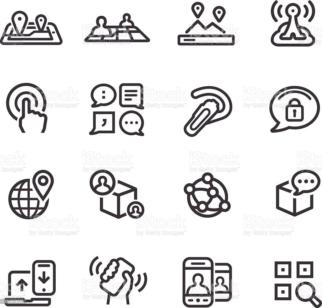 New Communication and Location Icons - Line Series vector art illustration