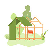 New construction of green wood panel small house