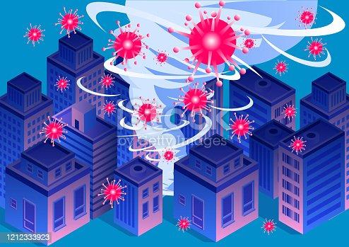 istock New Coronary Pneumonia Virus COVID-19 Swept Cities, Global Virus Outbreak, Tornado Swept Cities 1212333923