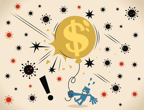 New Coronavirus burst the dollar sign balloon. Pandemic and the global economic impact of Coronavirus COVID-19, financial crisis and economic recession concept