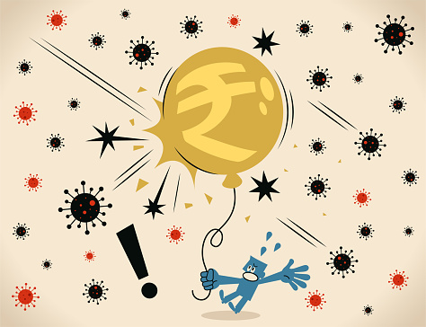 New Coronavirus burst the Indian Rupee sign balloon. Pandemic and the global economic impact of Coronavirus COVID-19, financial crisis and economic recession concept
