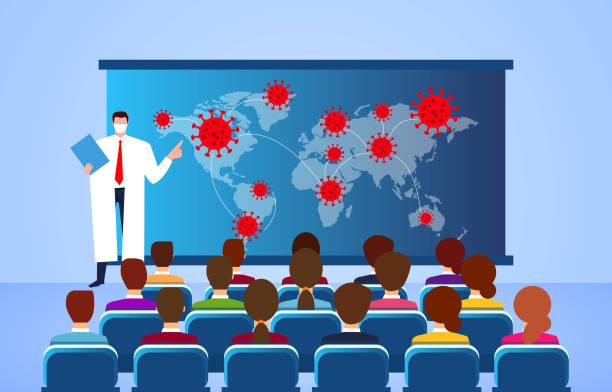 Neues Coronavirus Medicine Symposium, Professor für Medizin erklärt Bericht über neue Coronavirus Pneumonia COVID-19 – Vektorgrafik