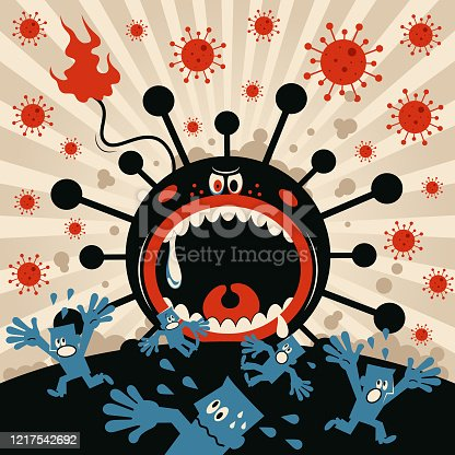 istock New coronavirus monster (bacterium, virus) opens his big jaws, people screaming and escaping, state of emergency 1217542692