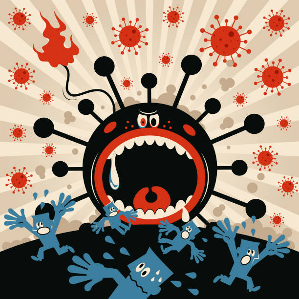 New coronavirus monster (bacterium, virus) opens his big jaws, people screaming and escaping, state of emergency vector art illustration