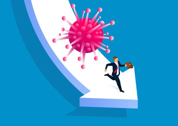 Neue Coronavirus-Pneumonie covid-19 holt mit Geschäftsmann auf fallenden Pfeil, globale Virus-Pneumonie-Epidemie führt zu wirtschaftlichem Abschwung – Vektorgrafik