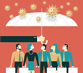 Umbrella protects people from infection with new coronavirus pneumonia stock illustration