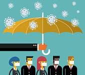 Umbrella protects people from infection with new coronavirus pneumonia stock illustration