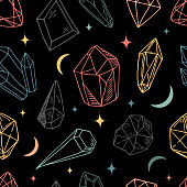 Seamless vector pattern - colorful crystals or gems, on black background, endless texture with gemstones, stars, diamonds, hand drawn or doodle illustration