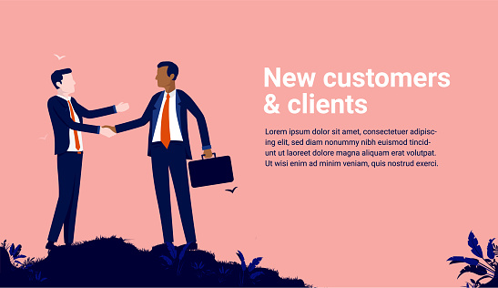 New customers and clients - Two businessmen shaking hands vector illustration