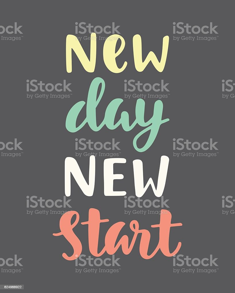 New Day New Start vector art illustration