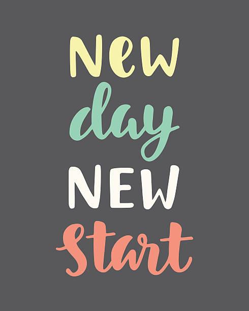 new day new start - buchstabenschreibweise stock-grafiken, -clipart, -cartoons und -symbole