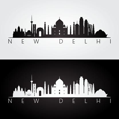 New Delhi skyline and landmarks silhouette, black and white design, vector illustration.