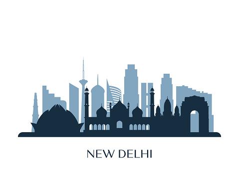 New Delhi skyline, monochrome silhouette. Vector illustration.