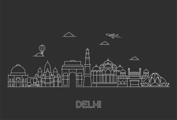 stockillustraties, clipart, cartoons en iconen met skyline van new delhi. - monument