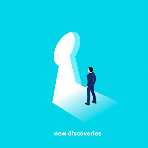 new discoveries man in a business suit goes to new discoveries, isometric style keyhole stock illustrations