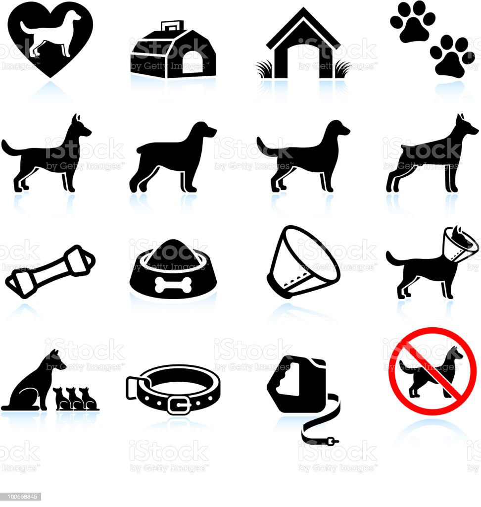 New Dog Owner Black And White Vector Icon Set Stock Vector ...