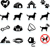 New Dog Owner black and white icon set