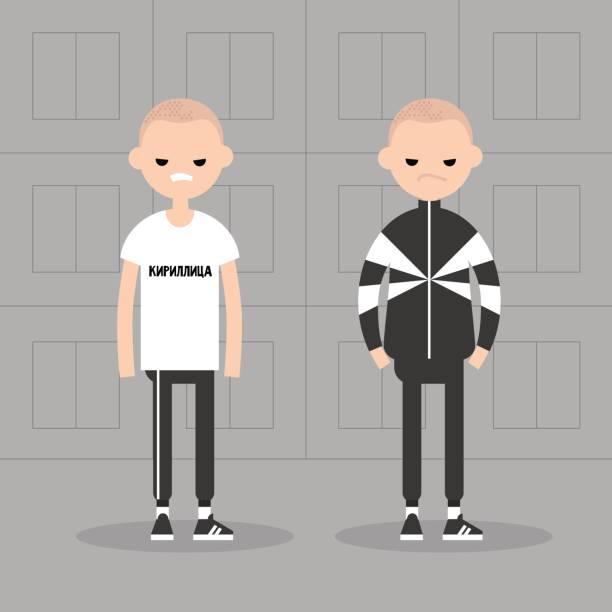 stockillustraties, clipart, cartoons en iconen met nieuwe oostblok conceptuele illustratie. twee onvriendelijke tekens dragen kostuums van de sport. grijze massa huisvesting achtergrond - kaal geschoren hoofd