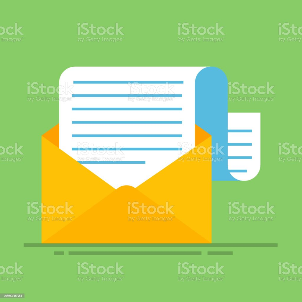 New Email Message Flat Carton Envelope With Open Mail Correspondence