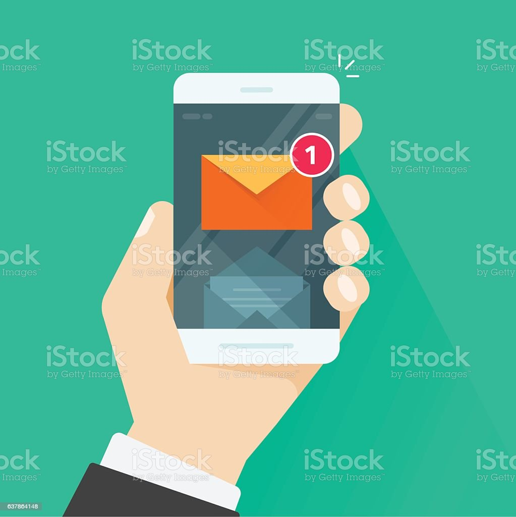 New email message notification on mobile phone vector illustration vector art illustration