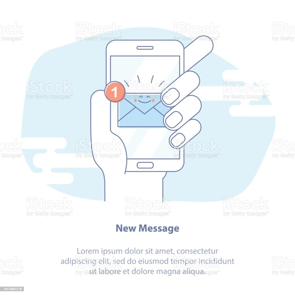 New email notification on mobile phone vector illustration. Smartphone screen with new unread e-mail message, mail envelope icon royalty-free new email notification on mobile phone vector illustration smartphone screen with new unread email message mail envelope icon stock vector art & more images of blogging