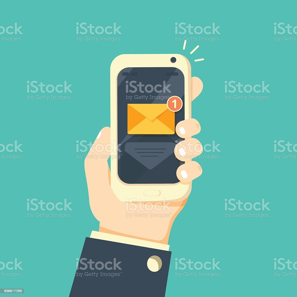 New email notification on mobile phone vector illustration vector art illustration