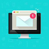New email on computer vector illustration, flat cartoon of desktop pc, e-mail envelope with notification received and browser, newsletter message, electronic mail or letter on screen isolated icon