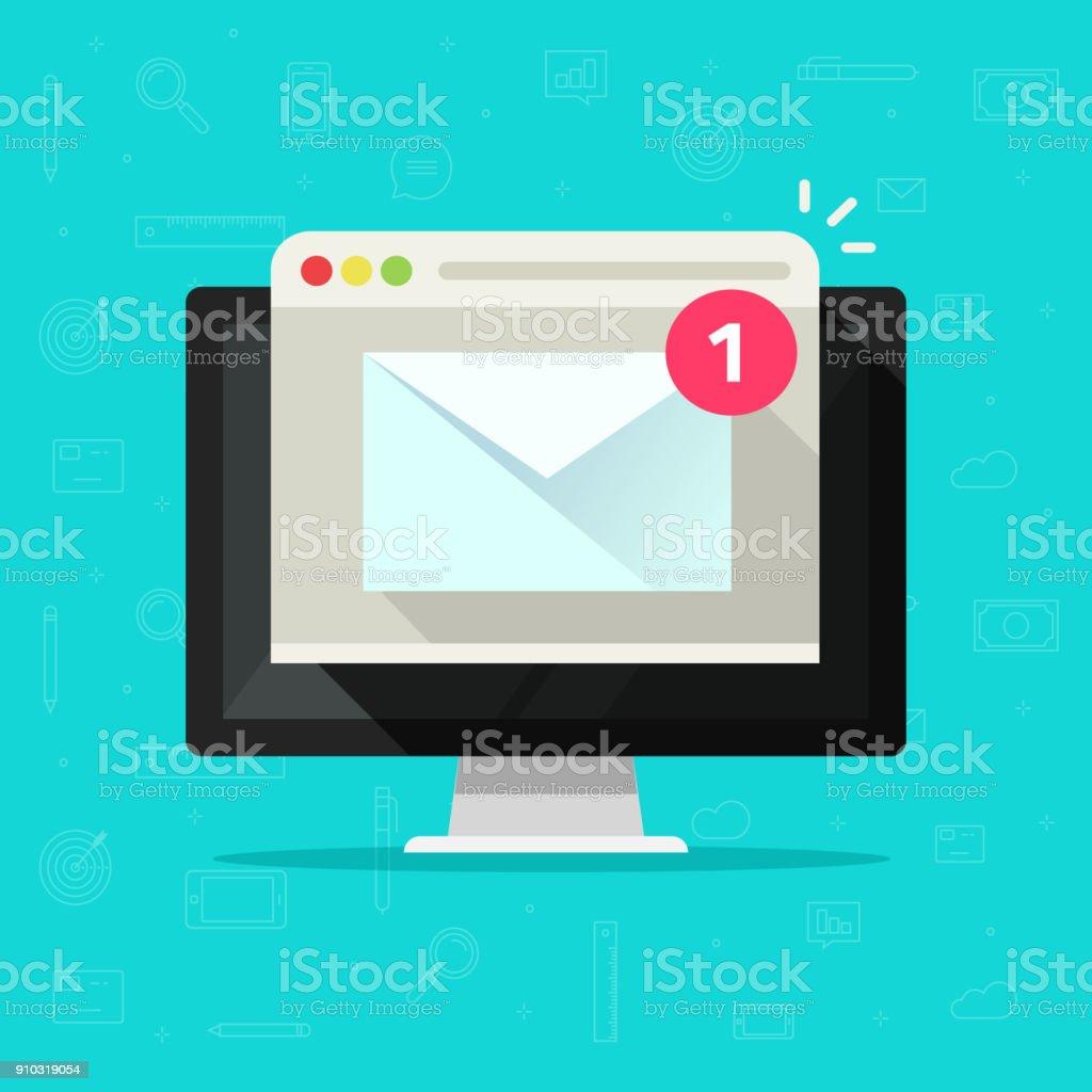 Neue e-Mail auf Computer-Vektor-Illustration, flache Cartoon-desktop-pc, e-Mail-Umschlag mit Benachrichtigung erhalten und Browser, Newsletter Nachricht, e-Mail oder Brief auf dem Bildschirm isoliert Symbol – Vektorgrafik