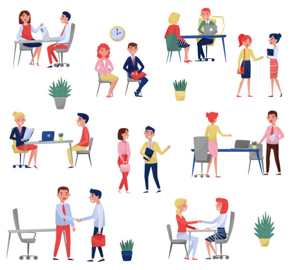 New employee applicants having job interview with HR specialists set, recruitment concept vector Illustrations on a white background vector art illustration