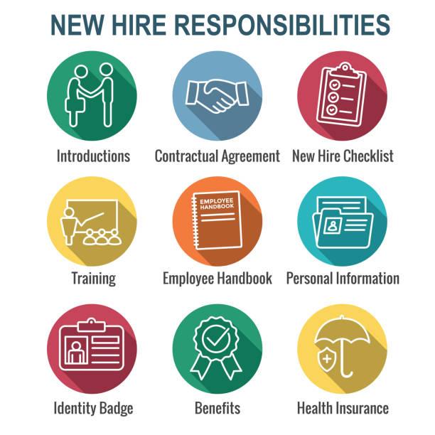 ilustrações, clipart, desenhos animados e ícones de novo ícone do processo de contratação de empregado definir lista de w, aperto de mão, formação, etc - employee