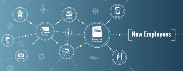 ilustrações, clipart, desenhos animados e ícones de novo ícone do processo de contratação de empregado definir manual w, lista de verificação, etc. - employee