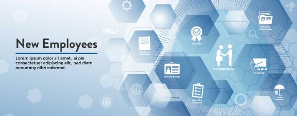 neue mitarbeiter einstellungsverfahren symbolsatz mit handbuch, checkliste, etc. - new work stock-grafiken, -clipart, -cartoons und -symbole
