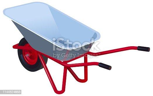 New empty modern garden wheelbarrow. Garden car isolated on white. Vector illustration