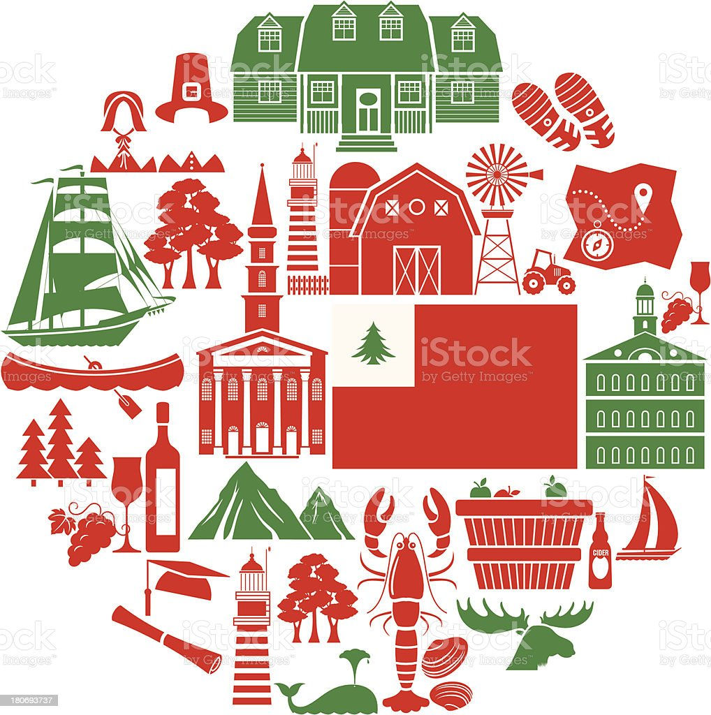 New England Icon Set vector art illustration