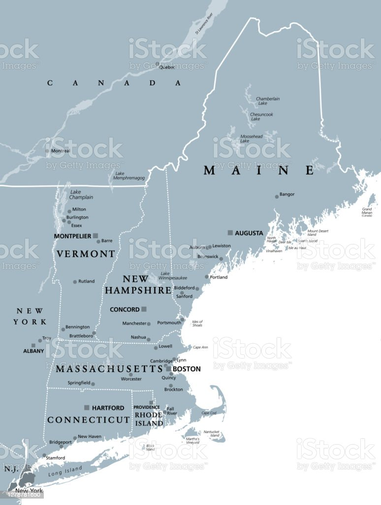Image of: New England Region Of The United States Gray Political Map Stock Illustration Download Image Now Istock